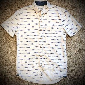 American Eagle White/Blue Shirt Sleeve Button Down